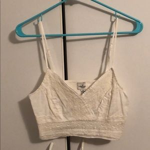 Cream Crop Top with Lace Accents